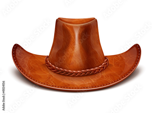 Fotografie, Obraz  cowboy's leather hat stetson vector illustration isolated on