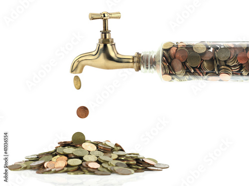 Fotografía  Money coins fall out of the golden tap