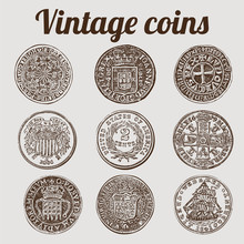 Silver Coins Collection / Vintage Vector Illustration