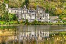 Kylemore Abbey In Connemara Mountains - Ireland