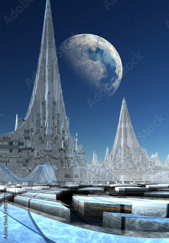 Modern City on an Alien Planet - 41049358