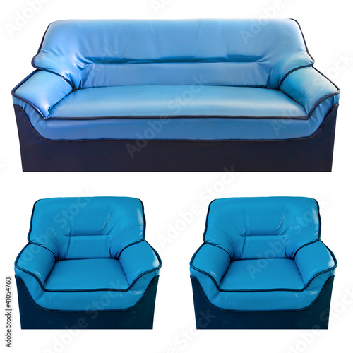Set Of The Blue Leather Sofa Buy This Stock Photo And Explore
