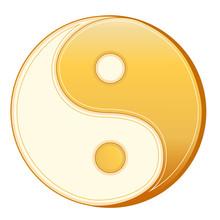 Taoism Symbol, Gold Yin Yang Mandala Of Tao Faith