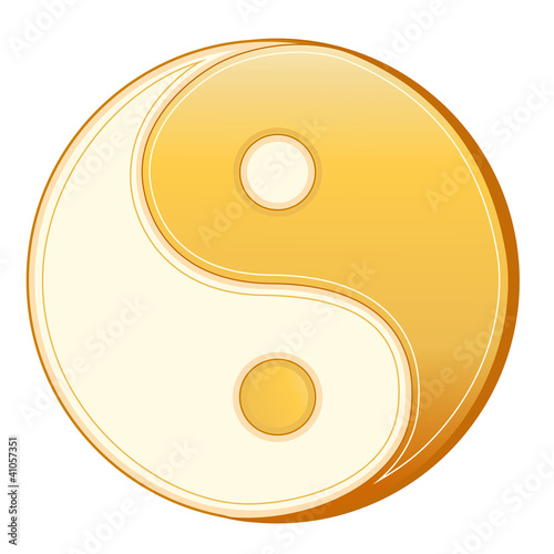 Fényképezés  Taoism Symbol, gold Yin Yang mandala of Tao faith