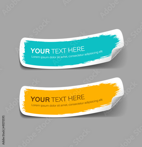 Fotografía  Colorful label paper brush stroke, vector illustration