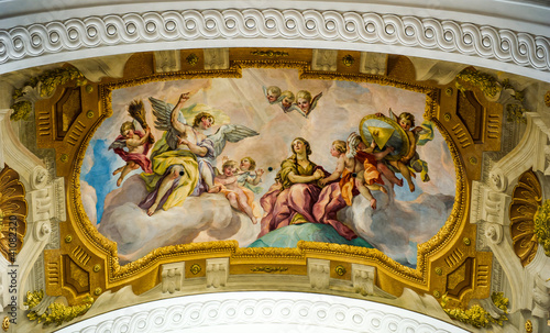 Detail of the fresco in the St. Charles's Church (Karlskirche) i Canvas Print