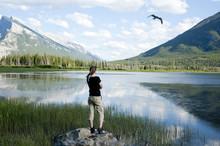 Female Admiring Vermilion Lakes