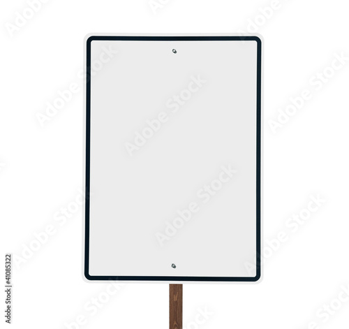 Blank white vertical road sign isolated.