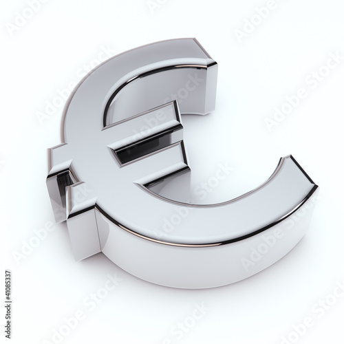 Fotografía  3D Euro symbol isolated on white