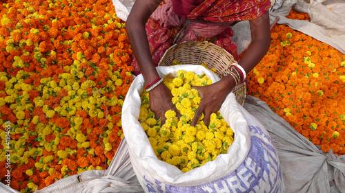In de dag India Mujer en el mercado de flores de Mullik Ghat, Calcuta, India