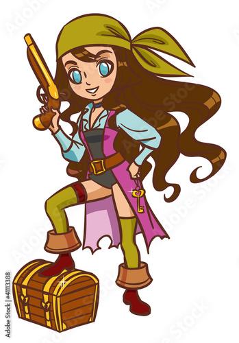 Photo Stands Pirates Chibi Cartoon pirate girl with powder gun and treasure chest
