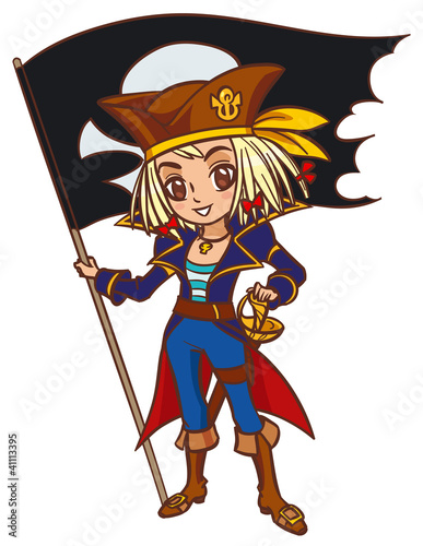 Photo Stands Pirates Chibi cartoon captain pirate girl with Jolly Roger flag