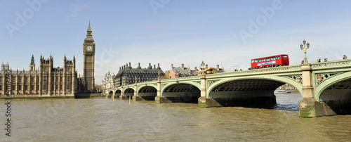 Aluminium Prints London red bus Westminster Bridge and the Houses of Parliament