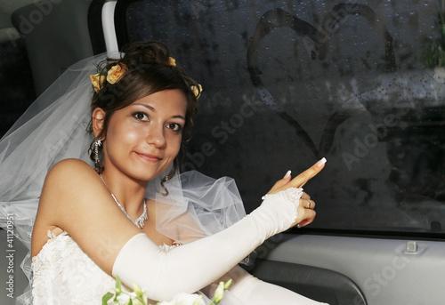 Tablou Canvas Bride in car