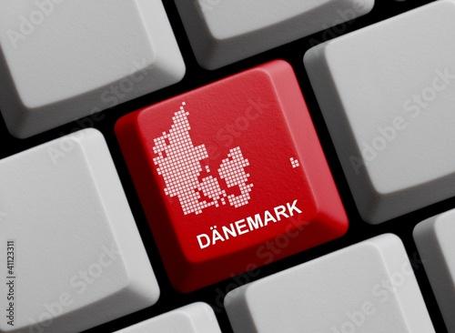 Dänemark - Umriss auf Tastatur Poster
