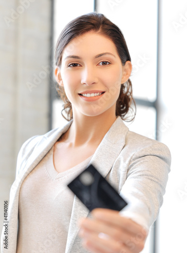 Fototapety, obrazy: happy woman with credit card