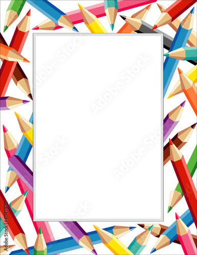 Colored Pencils Frame, copy space for posters, school, education ...