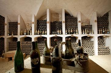 Fototapeta ancient wine cellar