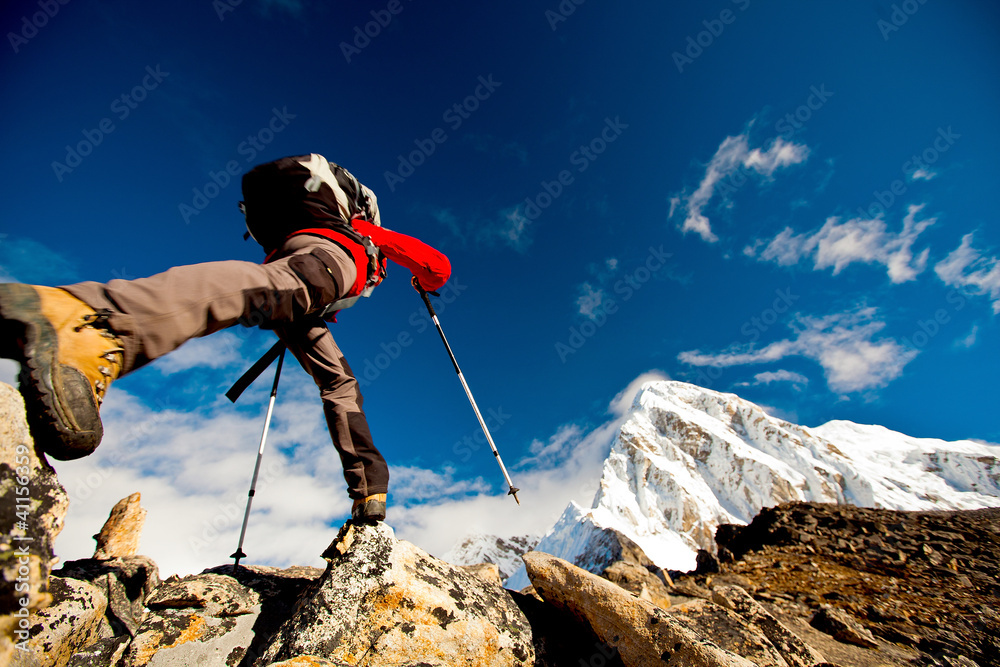Fototapety, obrazy: Hiker in Himalaya mountains
