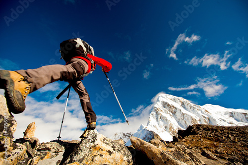 Fotografie, Obraz  Hiker in Himalaya mountains