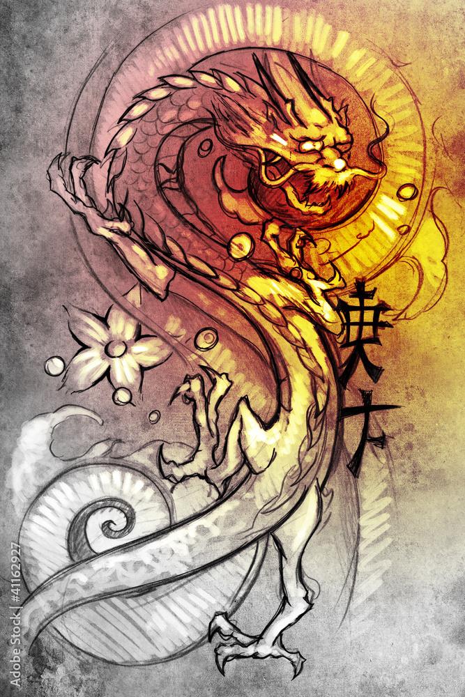 Poster Na Zamówienie Tatuaż Szkic Japońskiego Smoka