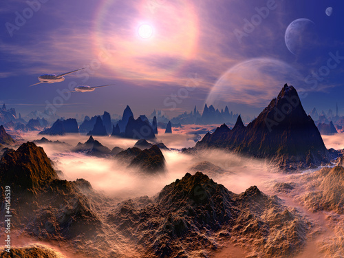 Futuristic Aircraft over Landscape on Distant World Wallpaper Mural