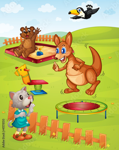 Poster Ours Animal playground
