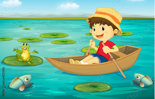 Poster Submarine Boy in boat