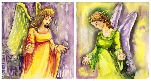 Recess Fitting Painterly Inspiration dwa obrazy aniołów