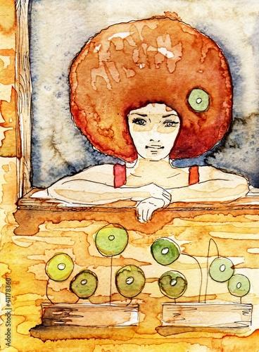 Aluminium Prints Painterly Inspiration siedząca w oknie młoda kobieta