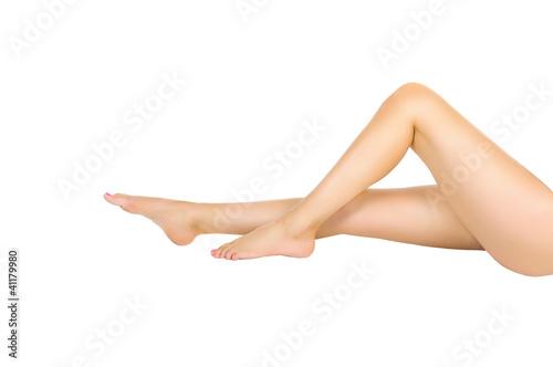 Fototapeta slender healthy female legs isolated obraz na płótnie