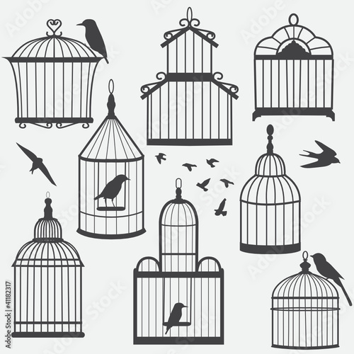Acrylic Prints Birds in cages Bird cages silhouette, vector illustration