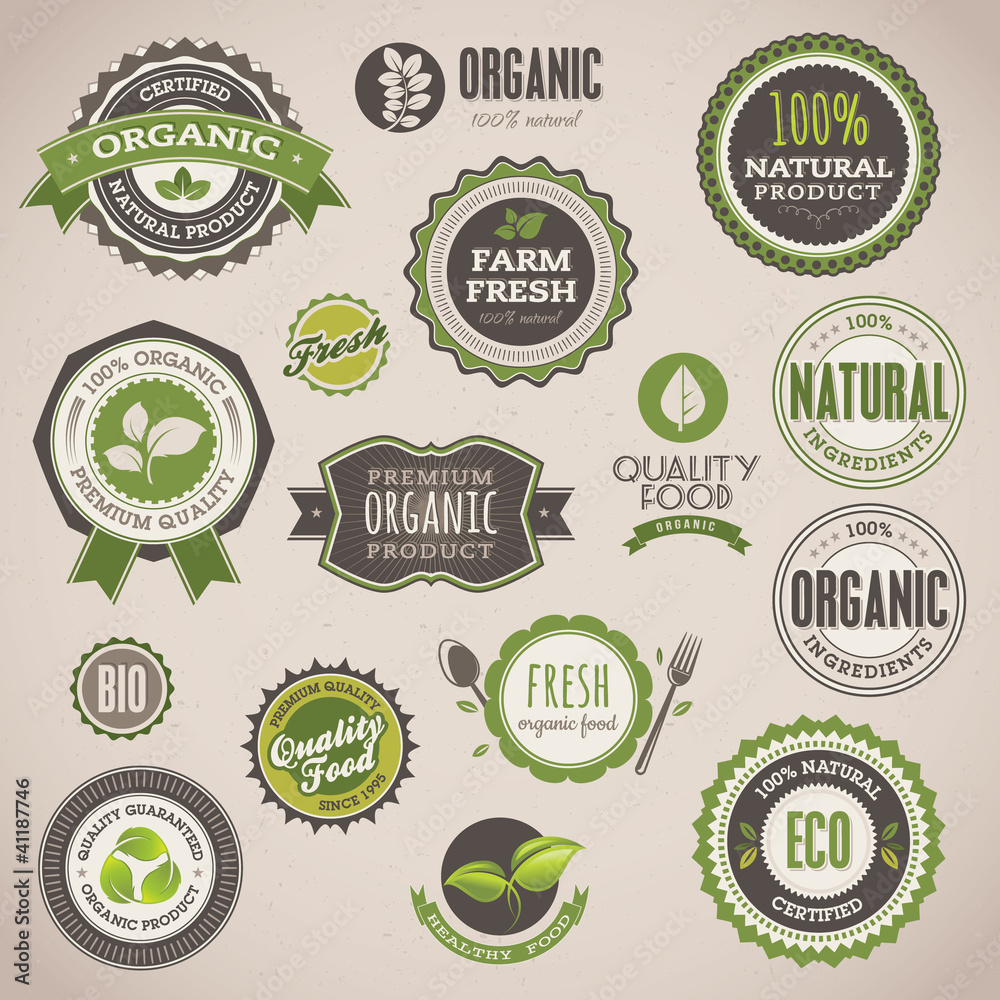 Fototapety, obrazy: Set of organic badges and labels