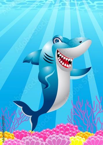 Recess Fitting Submarine Funny shark cartoon