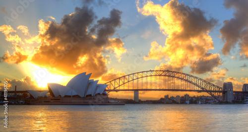 Canvas Prints Sydney Sydney Harbour with Opera House and Bridge