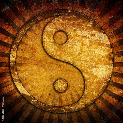 Valokuva  Grunge yin yang symbol