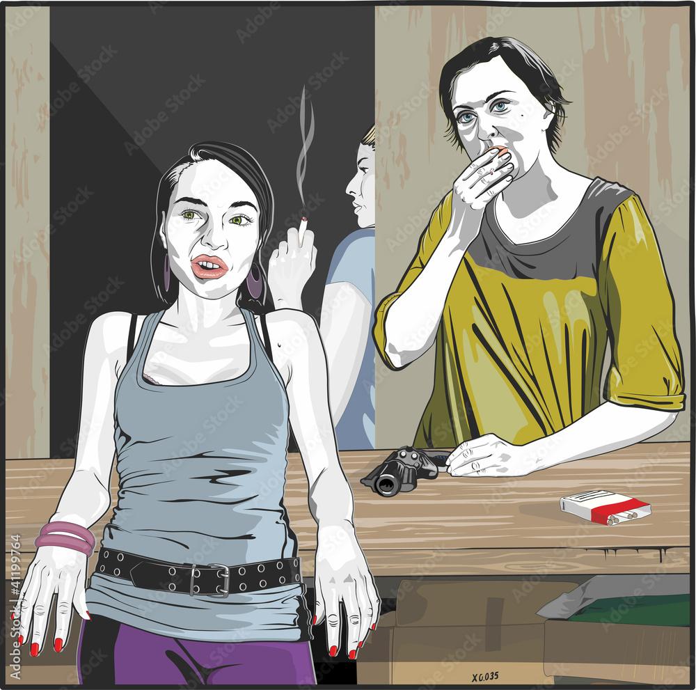 Fototapeta Dwie  kobiety rozmawiające i palące papierosy w magazynie.
