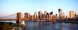Brooklyn Bridge and Manhattan skyline in New York at sunrise