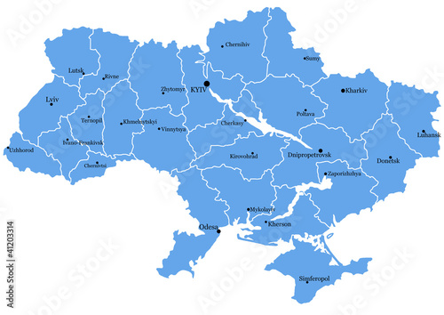 Map of Ukraine with cities Wallpaper Mural