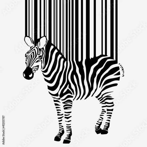 Fotografie, Obraz  abstract vector zebra silhouette with barcode