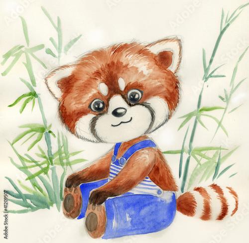 mala-czerwona-panda-z-niebieskimi-spodniami-akwarela-dla-dzieci