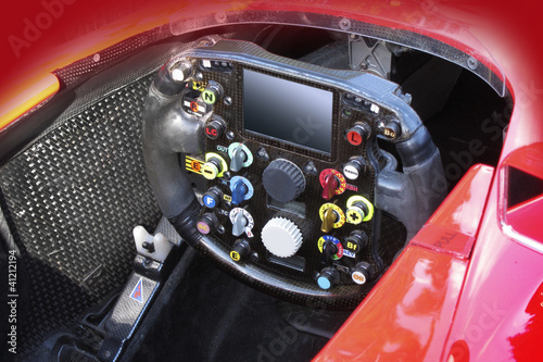 Steering wheel in F1 race car