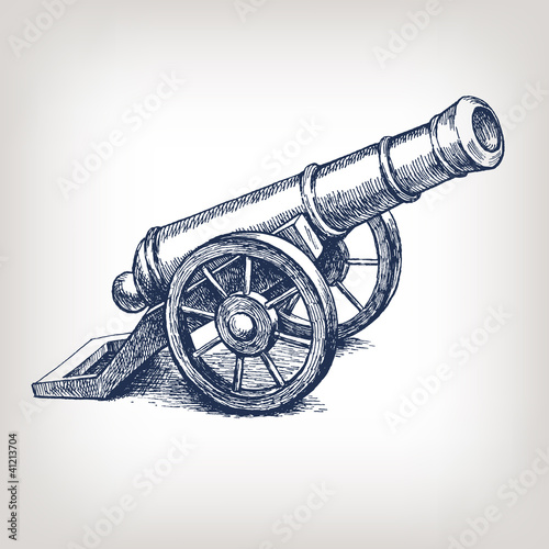 Fotografering Vector ancient cannon vintage engraving
