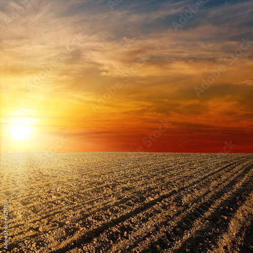 red sunset over ploughed farm field Wall mural