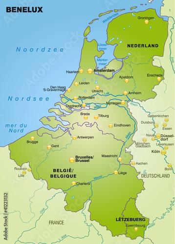 Übersichtskarte der Beneluxländer mit Nachbarländern Wallpaper Mural