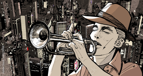 In de dag Muziekband trumpeter over a cityscape background