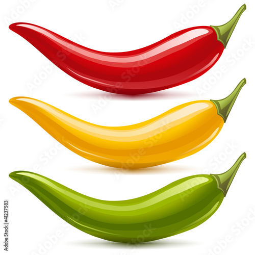 Photo  Hot chilli pepper vector set. Red, yellow and green
