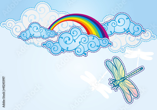 Poster de jardin Ciel Cartoon style sky background