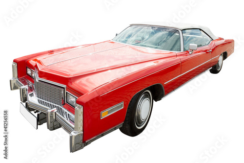 Canvas Print red cadillac car, cabriolet, isolated