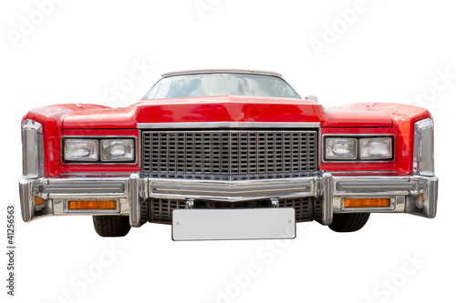 Photo red cadillac,  isolated